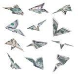 Het vliegtuig van de dollar het vliegen Royalty-vrije Stock Foto's