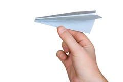 Het vliegtuig van de hand en document Royalty-vrije Stock Foto's