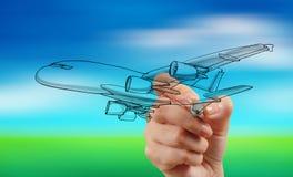 Het vliegtuig van de handtekening op onduidelijk beeld blauwe hemel stock foto
