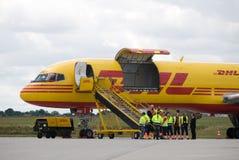 Het vliegtuig van de lading stock foto