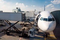 Het parkeren van het Vliegtuig van de lucht Royalty-vrije Stock Afbeeldingen