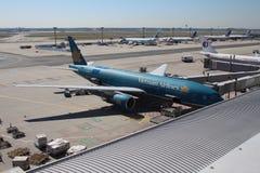 Het Vliegtuig van de Luchtvaartlijnen van Vietnam bij de Luchthaven van Frankfurt Stock Afbeeldingen