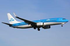 Het vliegtuig van de Luchtvaartlijnenboeing 737-800 van KLM Royal Dutch Royalty-vrije Stock Afbeelding