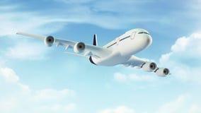 Het vliegtuig van de passagier in de blauwe hemel met wolken Royalty-vrije Stock Foto