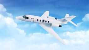 Het vliegtuig van de passagier in de blauwe hemel met wolken Stock Afbeeldingen