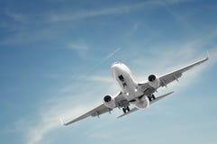 Het vliegtuig van de passagier het landen Stock Foto