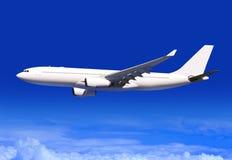 Het vliegtuig van de passagier over wolken Stock Afbeeldingen