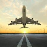 Het vliegtuig van de start in luchthaven bij zonsondergang stock illustratie