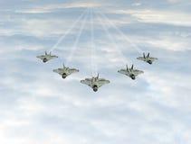 Het vliegtuig van de vechter in de hemel stock afbeeldingen