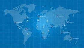 Het vliegtuig van de wereldkaart logistisch in blauwdruknetwerk Stock Afbeelding