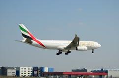 Het vliegtuig van emiraten Stock Foto's