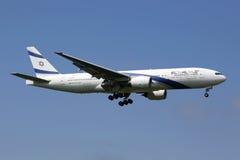 Het vliegtuig van Gr Al Israel Airlines Boeing 777-200 Stock Afbeeldingen