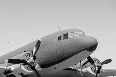 Het vliegtuig van het close-updeel van zwart-wit toon royalty-vrije stock afbeeldingen