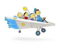 Het vliegtuig van het document met kinderenorigami Stock Foto's