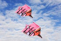 Het vliegtuig van het document op de winterwolken Royalty-vrije Stock Afbeelding