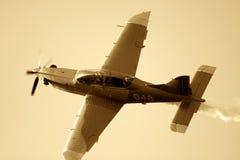 Het vliegtuig van Sepiated royalty-vrije stock afbeeldingen