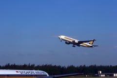 Het vliegtuig van Singapore Airlines Stock Fotografie