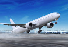 Het vliegtuig is vliegen-weg Royalty-vrije Stock Afbeeldingen