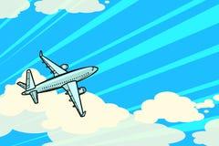 Het vliegtuig vliegt in de wolken Luchtvervoerluchtvaart stock illustratie
