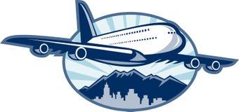 Het vliegtuiglijnvliegtuig van de jumbojet Royalty-vrije Stock Foto's