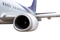 Het Vliegtuigmotor van Boeing 737-400 op witte achtergrond wordt geïsoleerd die royalty-vrije stock afbeelding