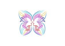 Het vlinderembleem, ontspant, vrouwenpictogram, kuuroordsymbool, yoga, schoonheidsmiddel, massage, het conceptontwerp van schoonh stock foto's