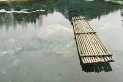 Het vlot van het bamboe in ondiep water Stock Foto's