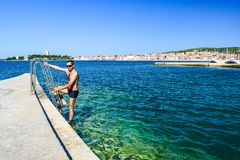 Het Vodice-strand, Kroatië stock foto