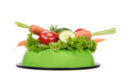Het voeden komhoogtepunt van groenten Stock Fotografie