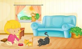 Het voeden van de katten Royalty-vrije Stock Afbeelding