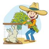 Het voeden van de konijnen stock fotografie