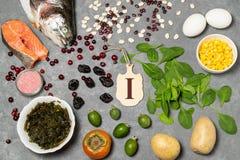 Het voedsel is bron van jodium stock afbeeldingen