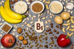 Het voedsel is bron van vitamine B6 stock foto's