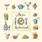 Het voedsel en de dranken van het koffiemenu overhandigen getrokken pictogrammen royalty-vrije illustratie