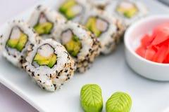 Het Voedsel van Californië broodje-Japanner van het sushibroodje Stock Afbeelding