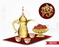 Het voedsel van de Iftarpartij met klassieke Arabische theepot en kop, kom van data op witte achtergrond 3d vectorillustratie Vector Illustratie