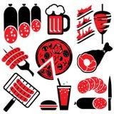 het voedsel van de pictogrammenbarbecue Stock Foto's