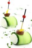 Het voedsel van de vinger met Komkommer en kaas Stock Fotografie