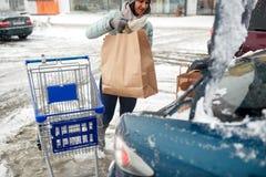 Het voedsel van de vrouwenlading van boodschappenwagentje aan autoboomstam Stock Fotografie