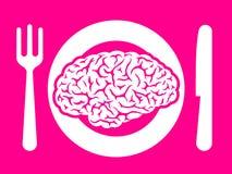 Het voedsel van hersenen op plaat met vork en mes Stock Foto