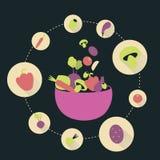 Het voedsel van keukenpictogrammen Stock Foto