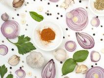 Het voedsel van kruidenmixers isoleert op witte achtergrond royalty-vrije stock afbeeldingen