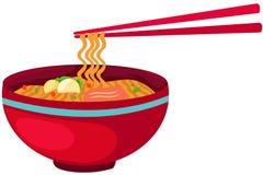 Het voedsel van noedels met eetstokjes vector illustratie