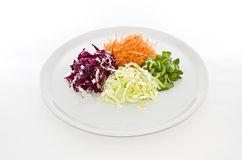 Het voedsel van salades in witte plaat Royalty-vrije Stock Foto