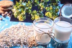 Het voedsel van het stillevendieet: glazen met havermelk, havermeel op een bloemenachtergrond in een rustieke stijl stock foto's