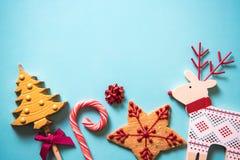 Het voedselachtergrond van Kerstmis feestelijke snoepjes Stock Afbeeldingen