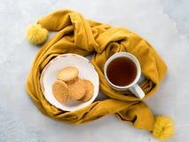 Het voedselconcept van het de wintercomfort met thee Royalty-vrije Stock Fotografie
