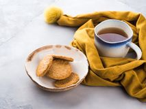 Het voedselconcept van het de wintercomfort met thee Royalty-vrije Stock Afbeeldingen