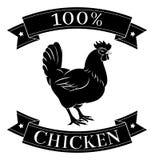 het voedseletiket van de 100 percentenkip Stock Afbeeldingen