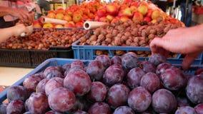 Het voedselmarktkraam van landbouwers met verscheidenheid van organisch fruit stock videobeelden